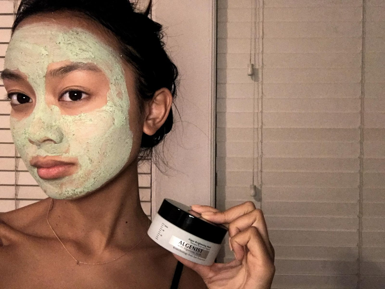 me trying the brightening mask. cute, right?